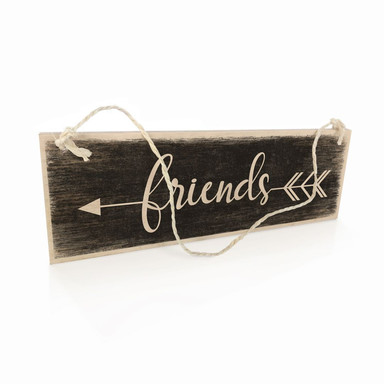 Holzschild Friends mit Pfeil