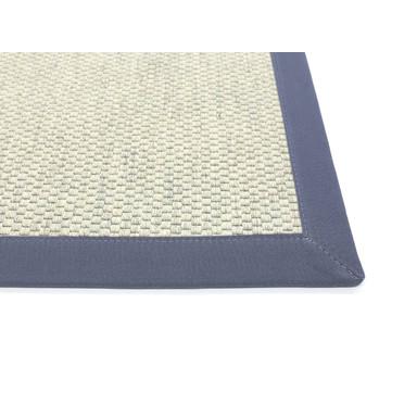Saba Wollweb 5cm Bordürenteppich | Wunschmass | Rechteckig | Nature | Navy 21