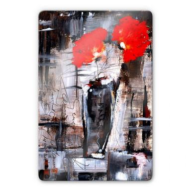 Glasbild Niksic - Leuchtend Rot