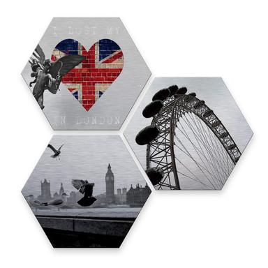 Hexagon - Alu-Dibond-Silbereffekt - Impression of London (3er Set)