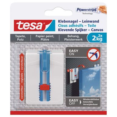 tesa® Klebenagel-Leinwand, verstellbar, für Tapete und Putz, 2x2kg - Bild 1