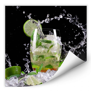 Wallprint Splashing Mojito - quadratisch