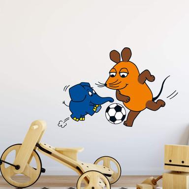 Wandsticker Die Maus Kampf um den Ball