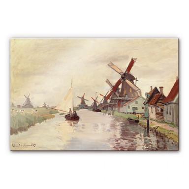Acrylglasbild Monet - Holländische Landschaft mit Windmühlen