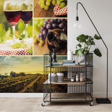 Fototapete Wein Collage - 240x260cm - Bild 1