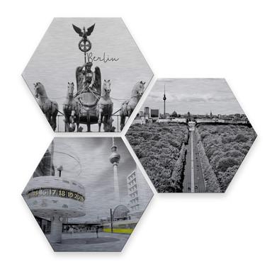 Hexagon - Alu-Dibond-Silbereffekt - Impression of Berlin (3er Set)