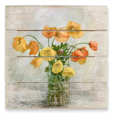 Holzbild Disher - Mohnblumen im Glas