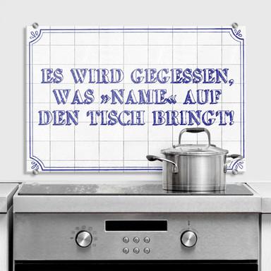 Spritzschutz Wandbild + Wunschtext Es wird gegessen...