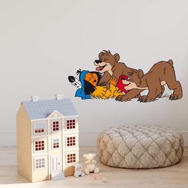 Wandsticker Yakari spielt mit Bärenpaar
