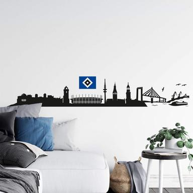 Wandtattoo HSV Skyline mit Logo farbig