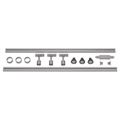 1-Phasen Schienensystem, Aufbauschiene, Starter-Set, 3 Spots, silber-grau, 2x 1m
