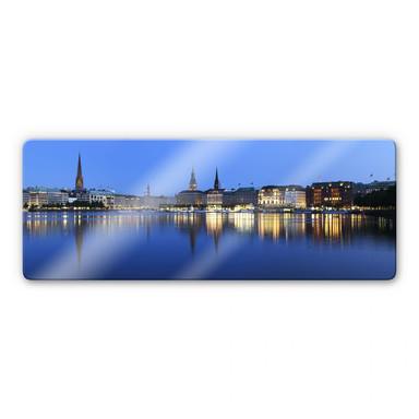 Glasbild Hamburger Jungfernstieg - Panorama