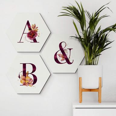 Hexagon - Alu-Dibond Buchstabensteine Burgundy Alphabet