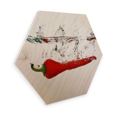 Hexagon - Holz Birke-Furnier - Chilischote