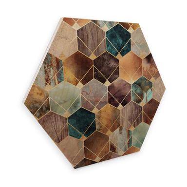 Hexagon - Holz Birke-Furnier - Fredriksson - Gold und Kupfer