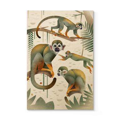 Holzposter Braun - Squirrel Monkeys