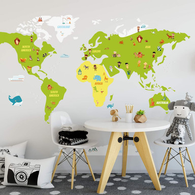 Wandtattoo Lustige Kinder Weltkarte