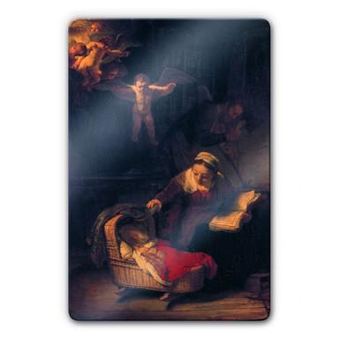 Glasbild Rembrandt - Heilige Familie mit Engeln