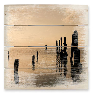 Holzbild Posts at sunset
