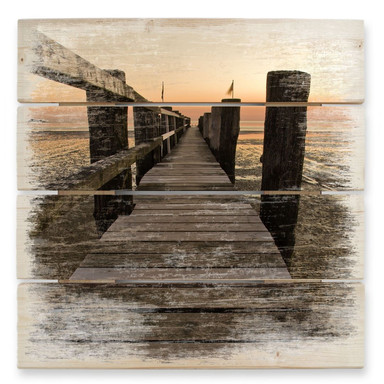 Holzbild Steg im Wattenmeer