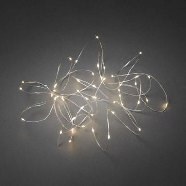 LED Tropfenlichterkette , 50 warm weisse Dioden, 3V Innentrafo, silberfarbener Draht