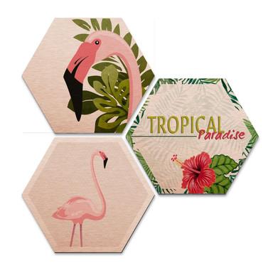 Hexagon - Alu-Dibond-Kupfereffekt - Flamingo 03 (3er Set)