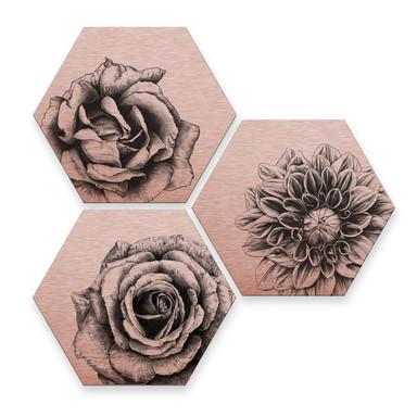 Hexagon - Alu-Dibond Kupfereffekt Kools - Flowery 3er Set