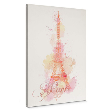 Leinwandbild La Tour Eiffel Aquarelle