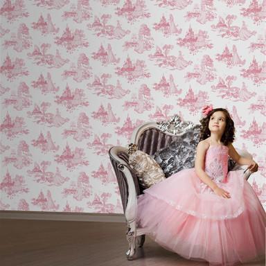 Mustertapete Papiertapete Dsiney Princess Pink Toile rosa - Bild 1