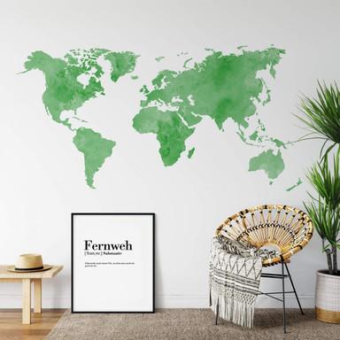 Wandtattoo Aquarell Weltkarte (grün)