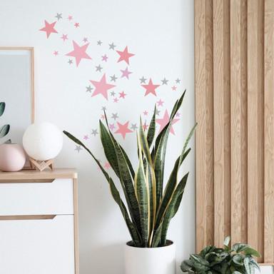 Wandtattoo Sterne Set - pastellrosa & grau - Bild 1