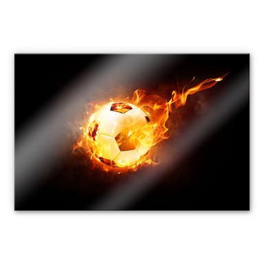 Acrylglasbild Fussball in Flammen