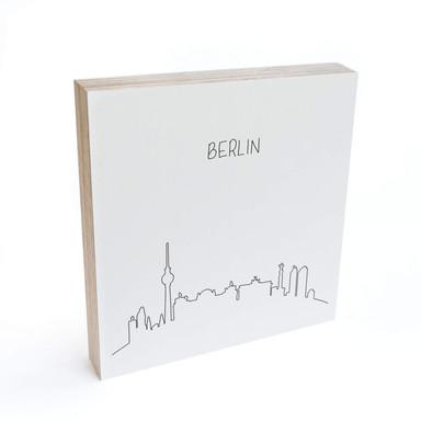 Holzbild zum Hinstellen - Skyline Berlin Outline - 15x15cm