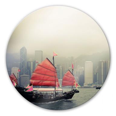 Glasbild Sailing in Kongkong - rund