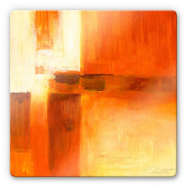 Glasbild Schüssler - Composition in Orange and Brown