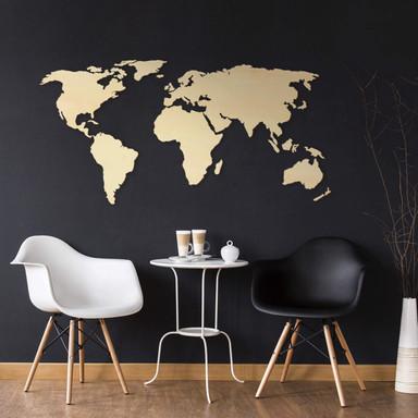 Holzdeko Pappel - Weltkarte