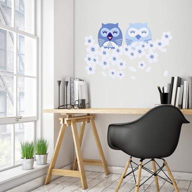 Wandsticker Kirsch-Eulen blau