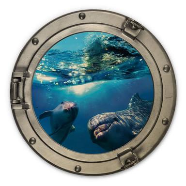 Holzbild 3D Optik - Dolphins Underwater - Rund