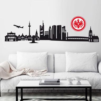Wandtattoo Eintracht Frankfurt Skyline mit Logo farbig