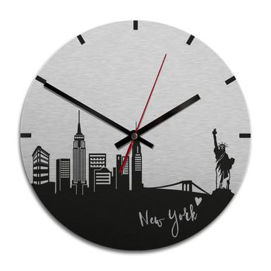 Wanduhr Alu-Dibond-Silbereffekt - Skyline New York - Ø 28cm - Bild 1