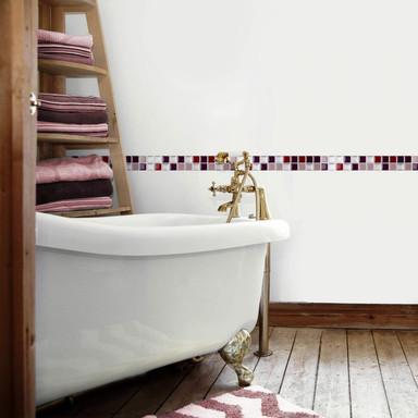 3D Fliesenaufkleber Mosaik Bordüre Bordeauxrot - 10er Set je 25.3 x 3.7cm