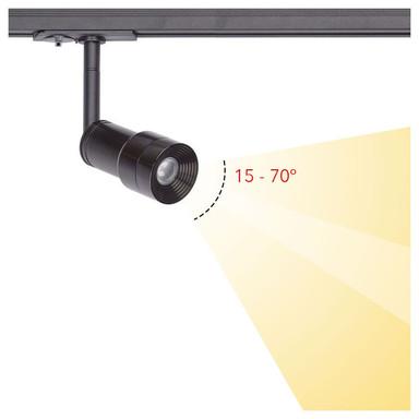 famlights | 1-Phasen LED Schienenspot Jonte in Schwarz dreh-und schwenkbar einstellb. Abstrahlwinkel