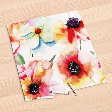 Folienbogen (60x60cm) - Water Color Flowers