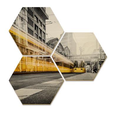 Hexagon - Holz Birke-Furnier - Berlin Friedrichstrasse-02 (3er Set)