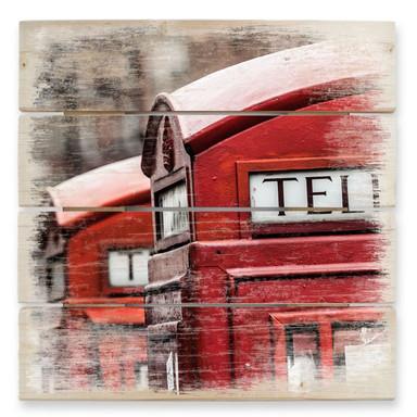 Holzbild Britische Telefonzelle