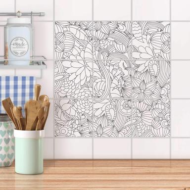Klebefliesen - Flower Lines 2
