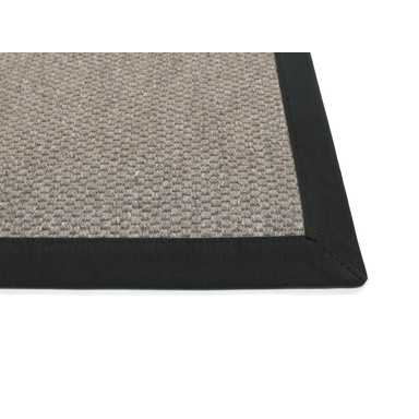 Saba Wollweb 5cm Bordürenteppich | Wunschmass | Rechteckig | Stone | Schwarz 40