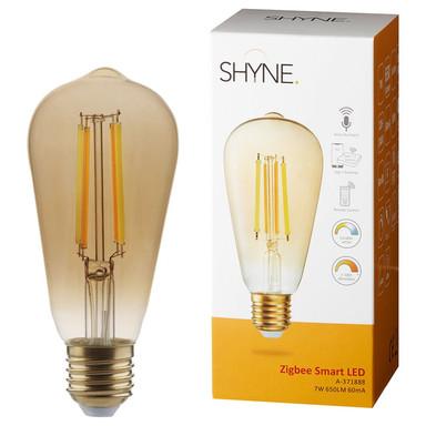 SHYNE   Smartes ZigBee LED Leuchtmittel E27. amber, tunable white, ST58. 7W, 650 Lumen, 1er-Pack