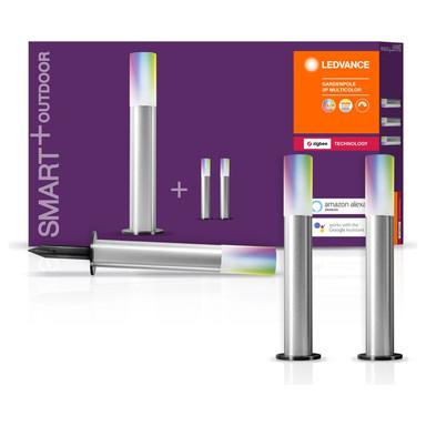 SMART& Zigbee LED Erdspiessleuchten in Silber und Weiss 3x 1.43W 250lm IP65 RGBW