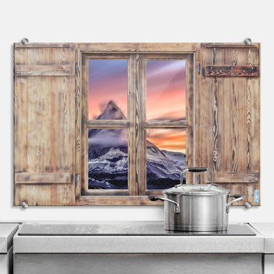 Spritzschutz 3D Holzfenster - Top of the Mountain